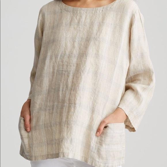 c1f7bab94 Eileen Fisher Tops - Eileen Fisher Catalan organic linen plaid top 1X